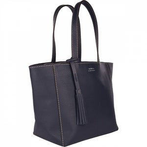 Loxwood Zippered Parisian Tote in Navy