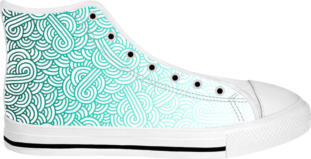 Gradient turquoise blue and white swirls doodles White High Tops