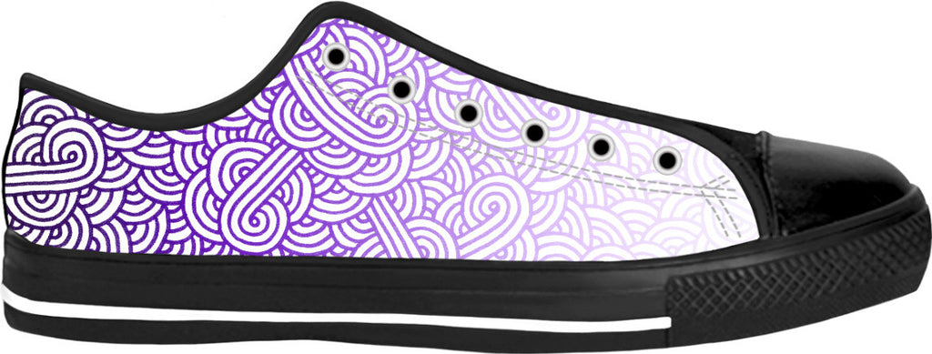 Gradient purple and white swirls doodles Black Low Tops