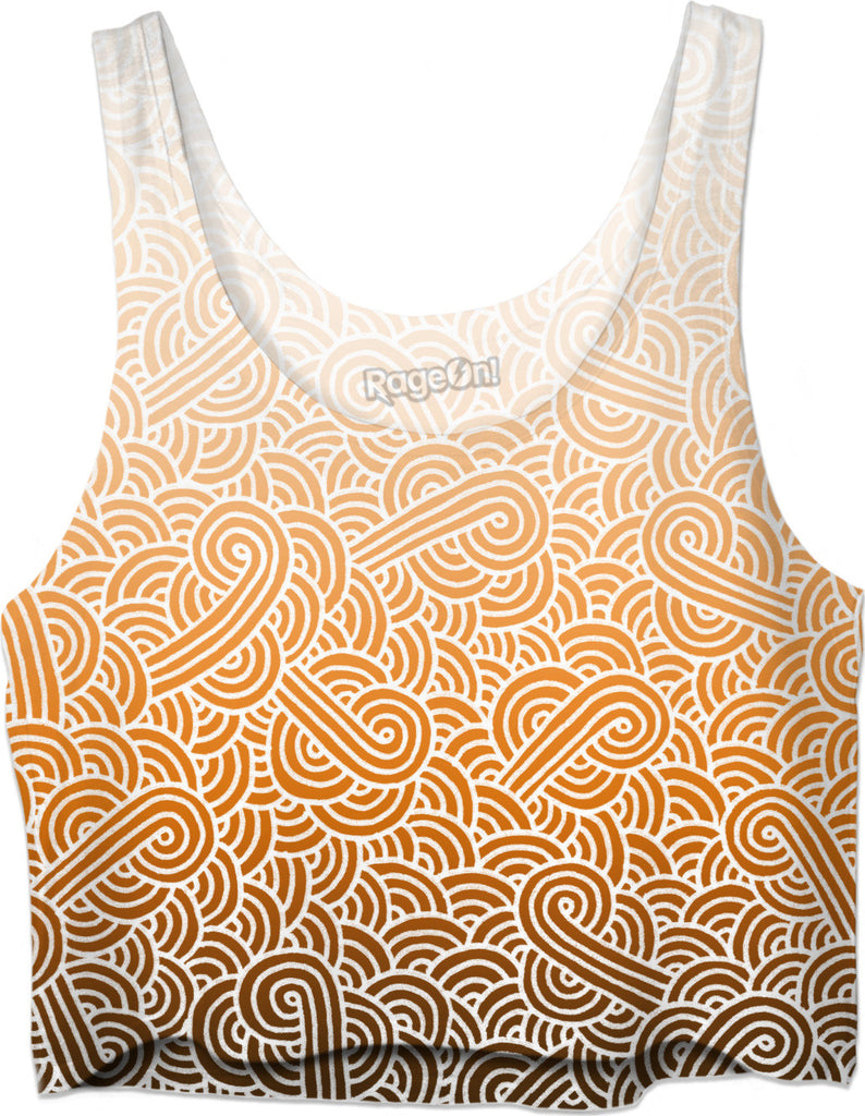 Ombre orange and white swirls doodles Crop Top