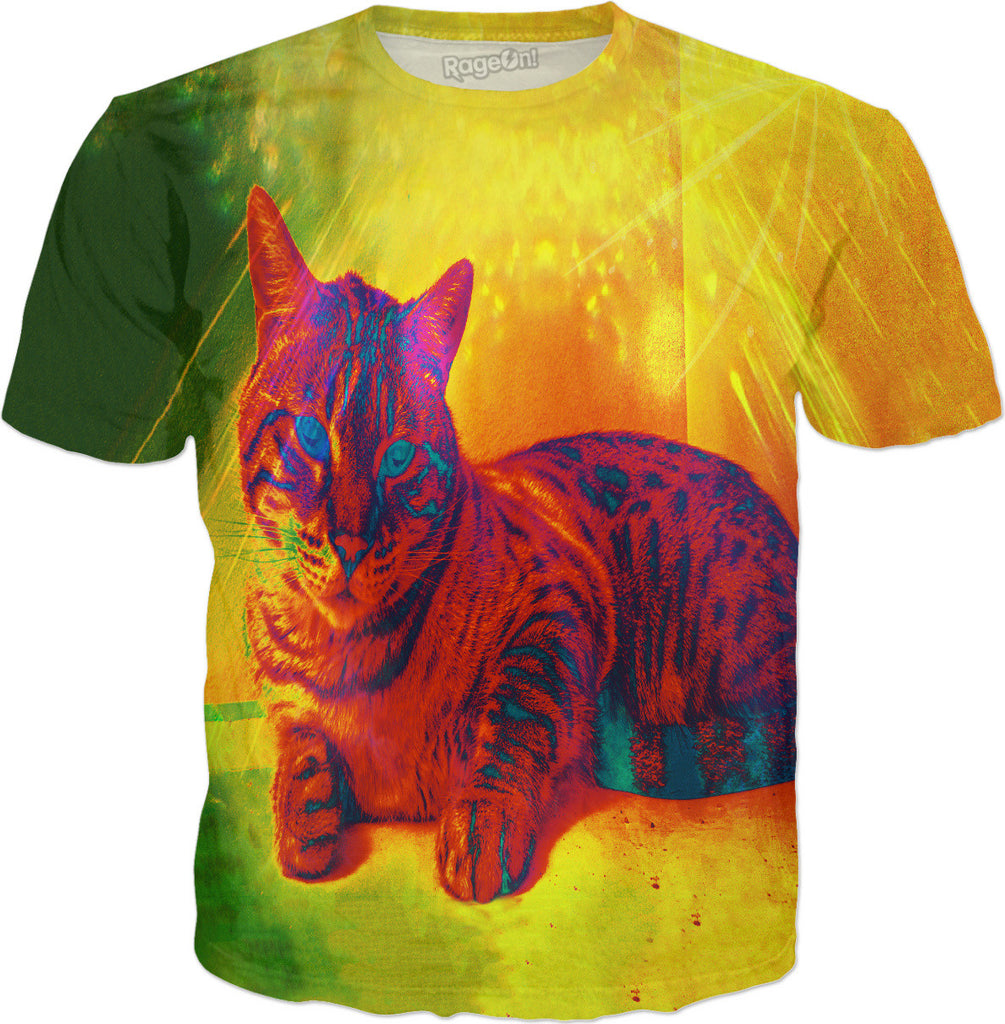 The Kitty Cat with the Infrared Spots and Stripes - T-Shirt - DistortionArt