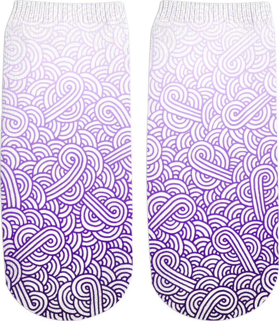 Gradient purple and white swirls doodles Ankle Socks