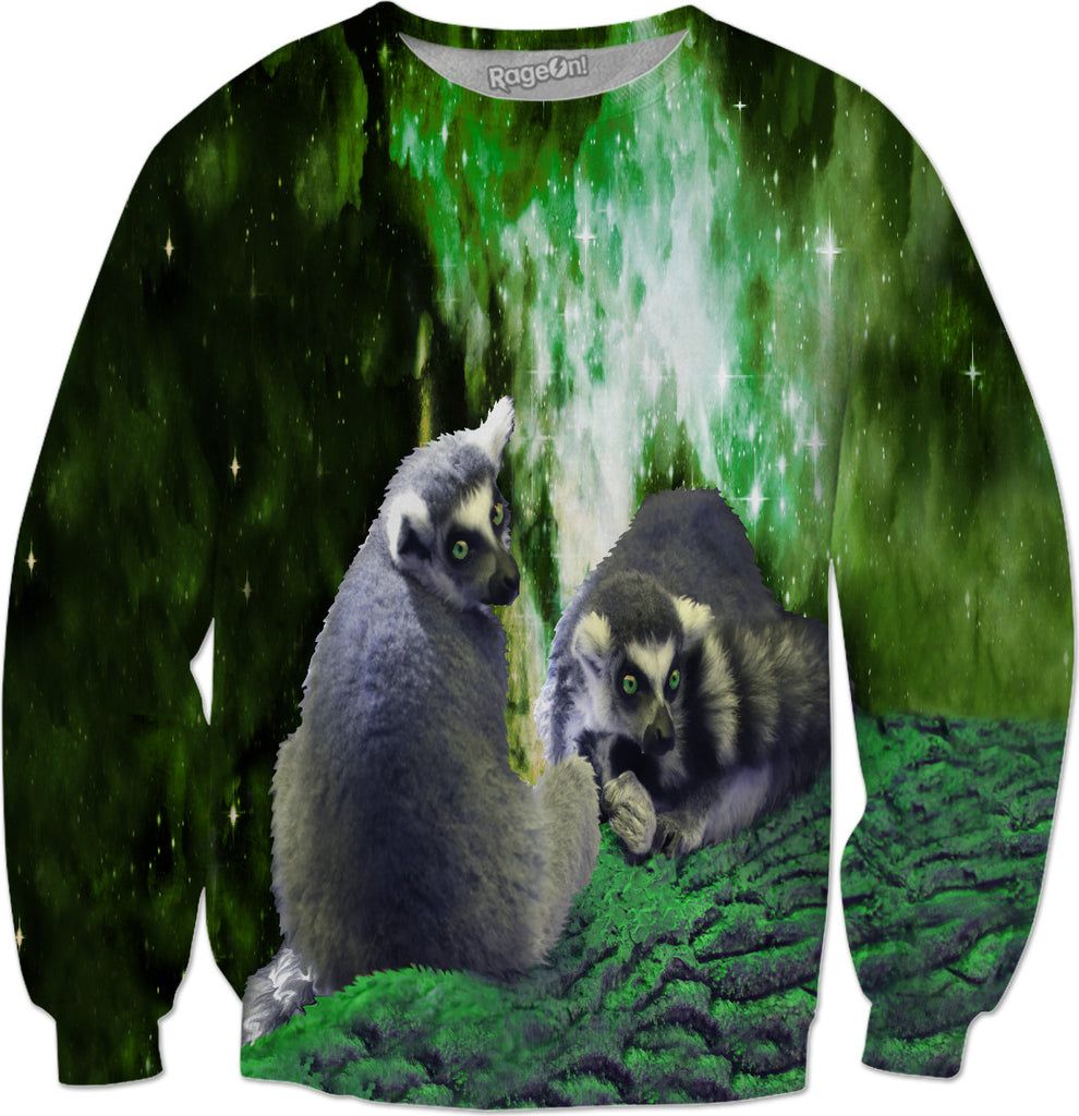 Lemurs on the Emerald Green Knolls Sweatshirt - DistortionArt