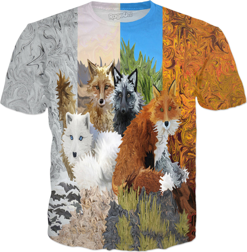 Four Shades of Foxes - Fox T-Shirt - DistortionArt