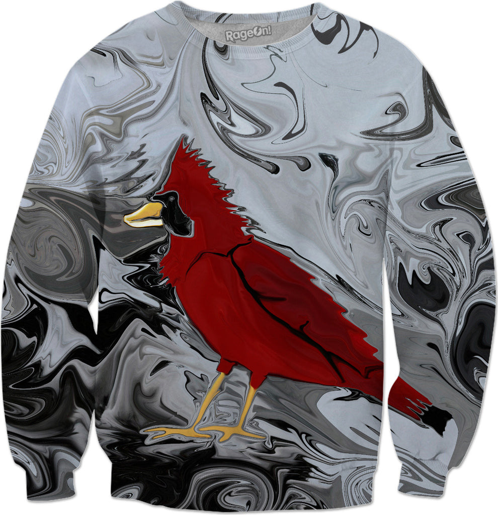 Crystal Cardinal's Winter Wonderland  - Red Cardinal Bird Sweatshirt - DistortionArt