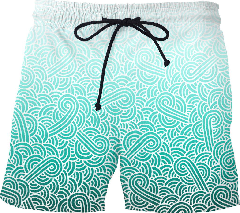 Ombre turquoise blue and white swirls doodles Swim Shorts