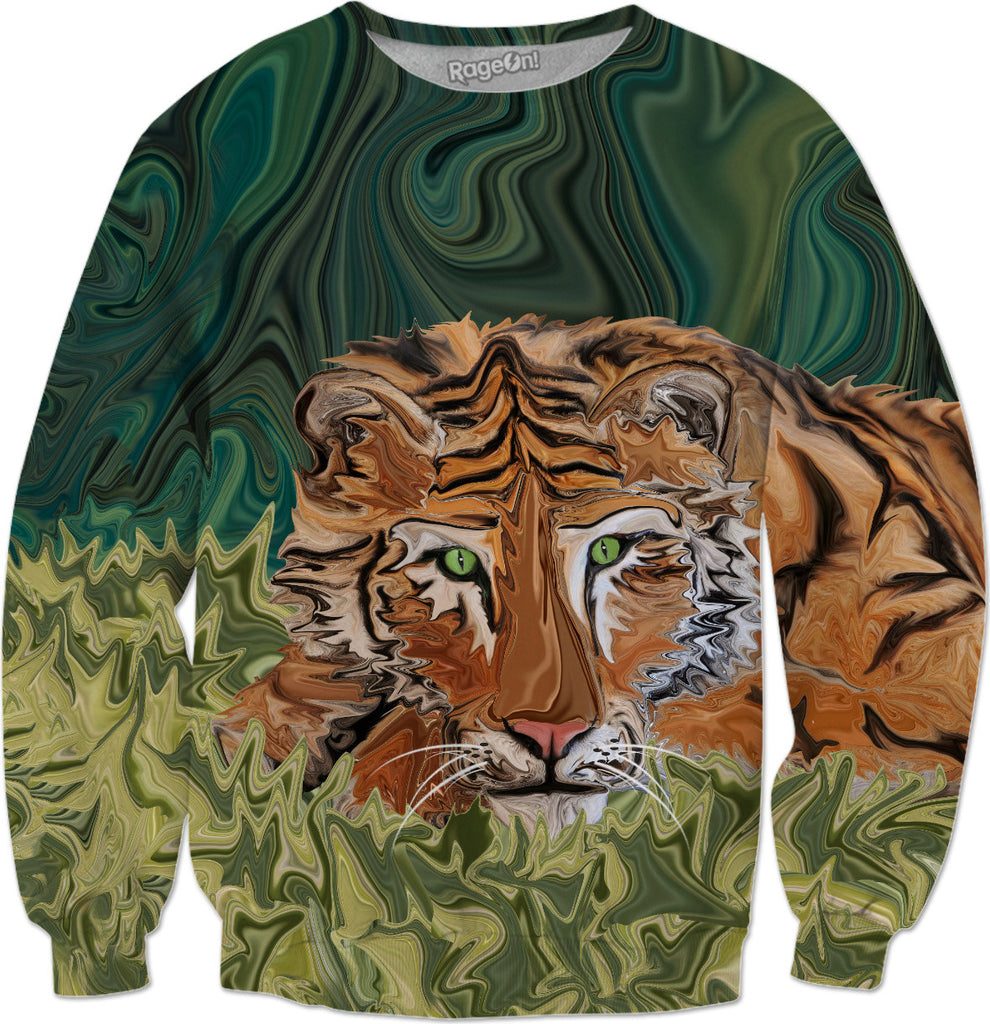 Tiger's Sunday Serendipity - Tiger Big Cat Sweatshirt - DistortionArt