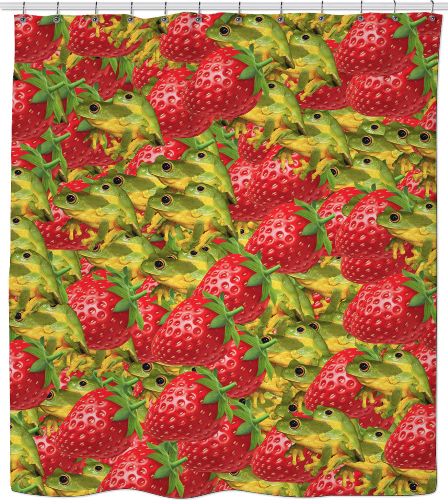 Frogs and Strawberries Shower Curtain