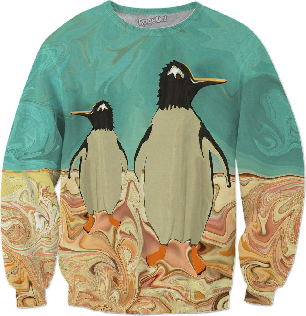 Penguins in Paradise - Penguin Christmas Holiday Sweatshirt - DistortionArt