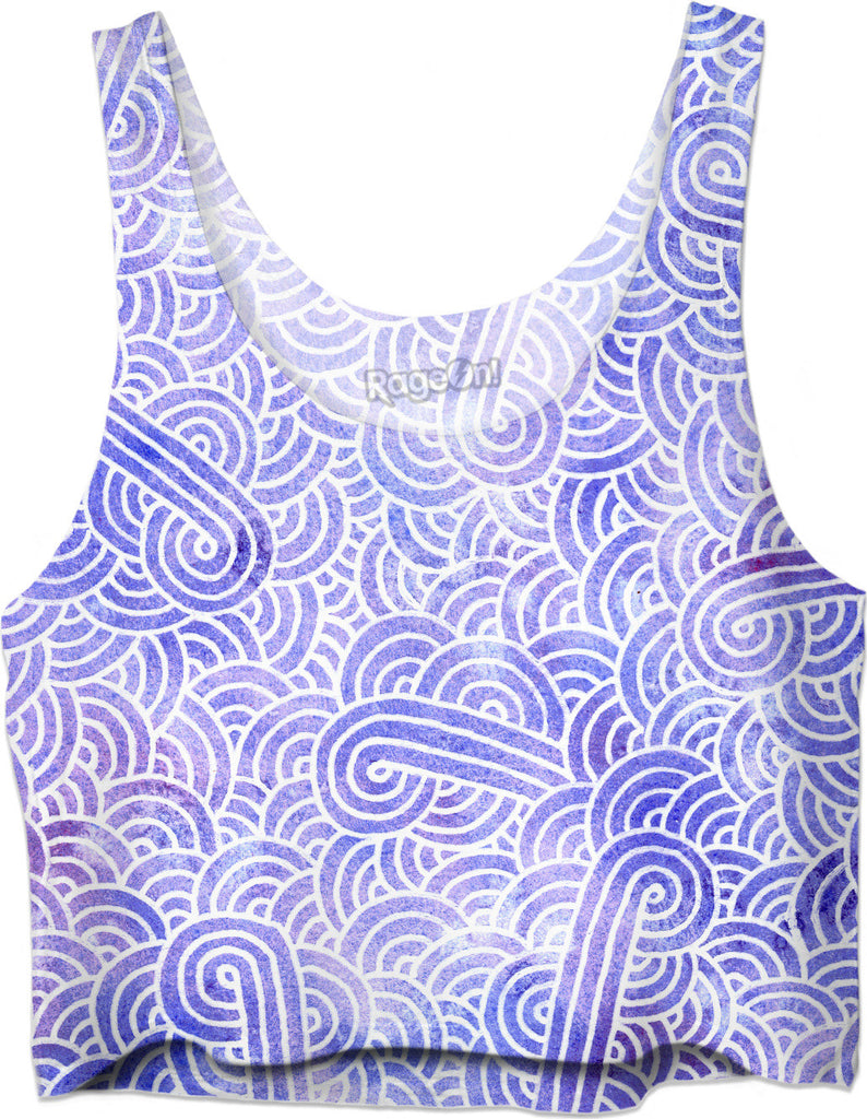 Lavender and white swirls doodles Crop Top