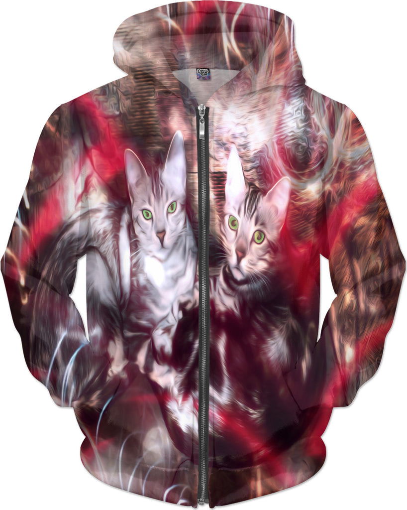 Bengal Cats of the Inner City Graffiti - Kitty Cat Hoodie - DistortionArt