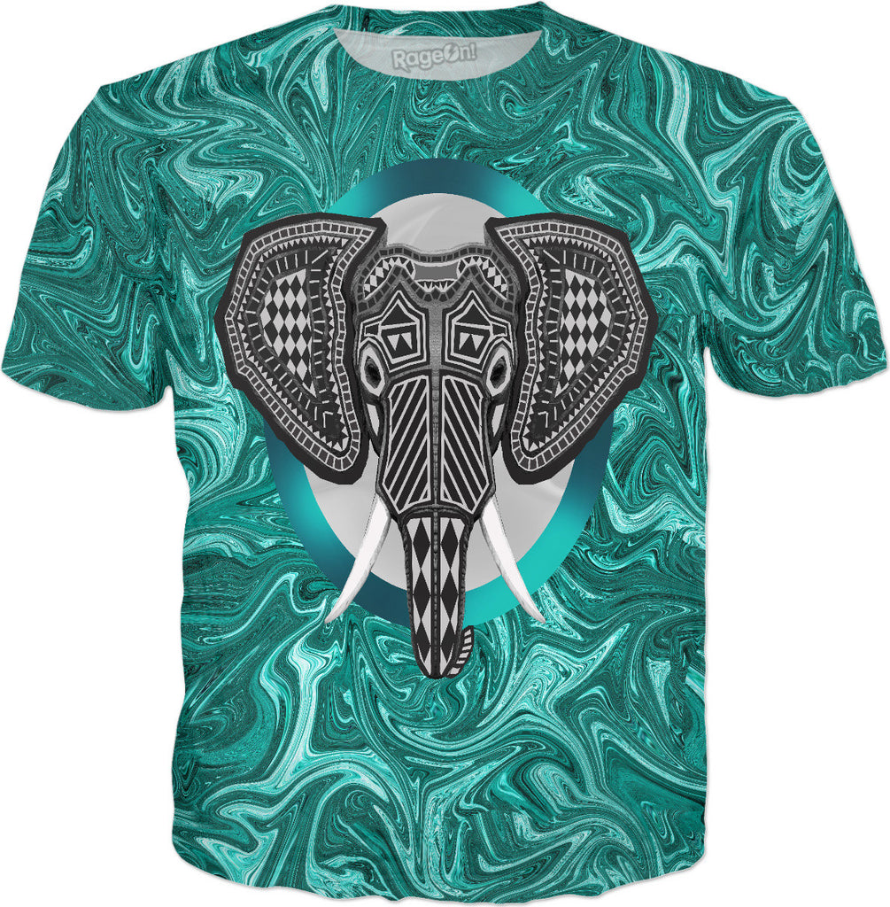 Aztec Elephant Tusk's of Grandeur - T-Shirt - DistortionArt