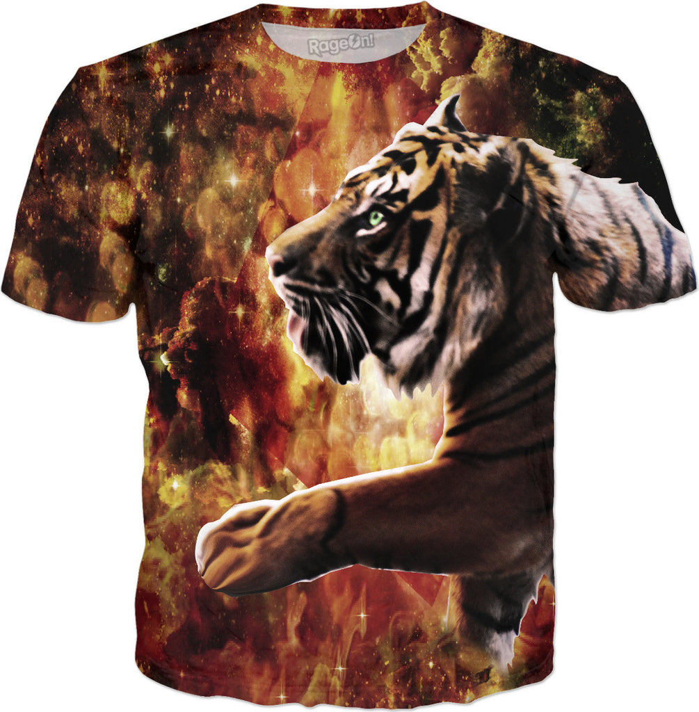Tiger Stroll Through the Glittery Galaxy Ravine T-Shirt - DistortionArt