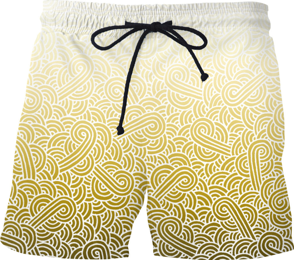 Ombre yellow and white swirls doodles Swim Shorts