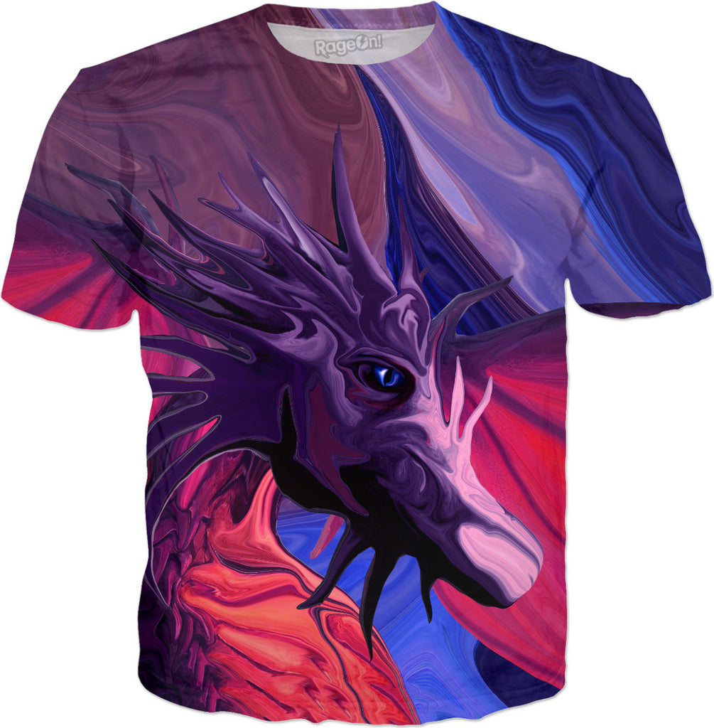 Jewel Toned Dragon of the Amethyst and Ruby Caverns - Fantasy / Mythical Dragon T-Shirt - DistortionArt