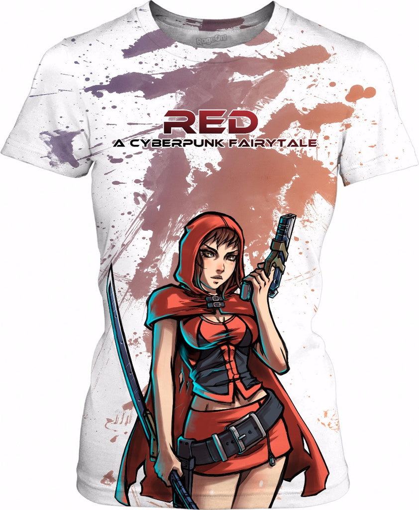 Red: A Cyberpunk Fairytale female shirt