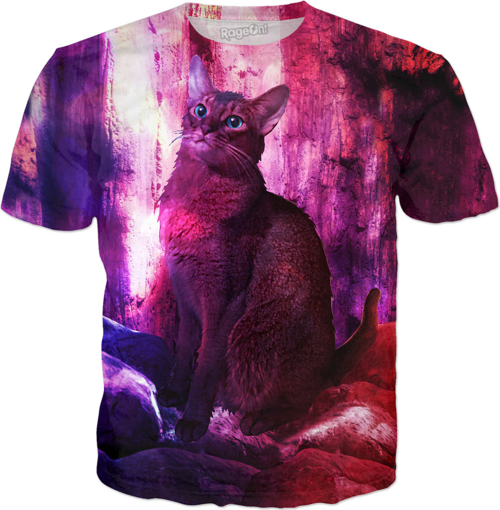 The Sunkissed Abyssinan Cat from Planet Kitarus - Kitty T-Shirt - DistortionArt