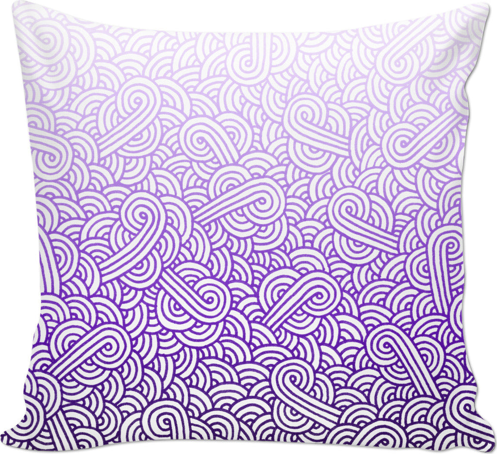 Gradient purple and white swirls doodles Couch Pillow