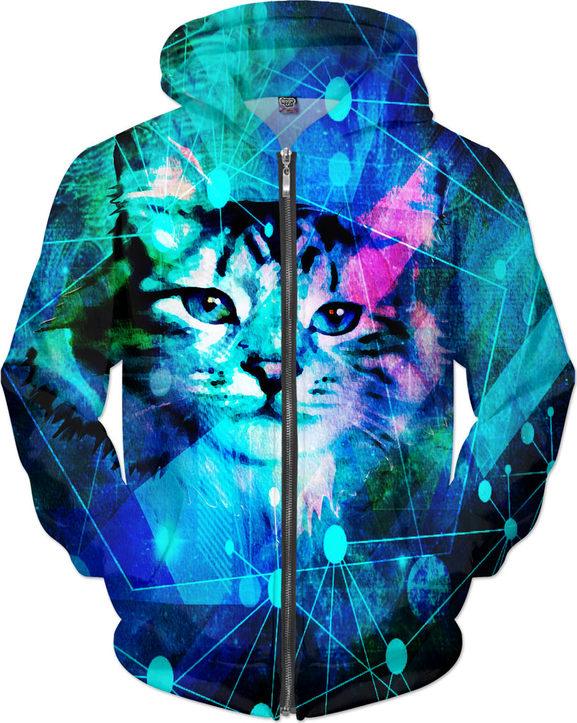 Kitty Cat Laser Lights at the Aleurorave Hoodie - DistortionArt
