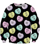 Mean Candy Hearts Crewneck Sweatshirt *Ready to Ship*