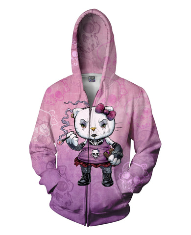 Hello Goth Kitty Zip-Up Hoodie *Ready to Ship*