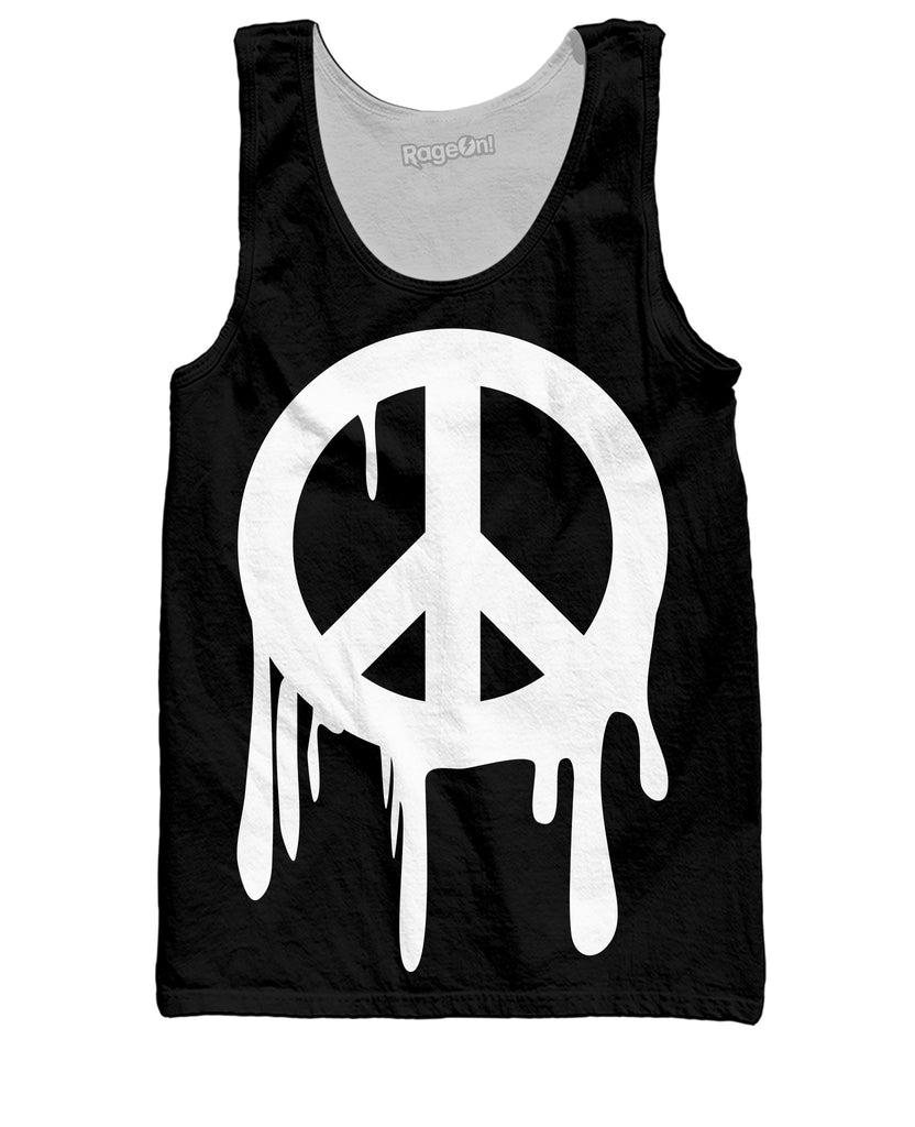 Drippy Peace Sign Black and White Tank Top