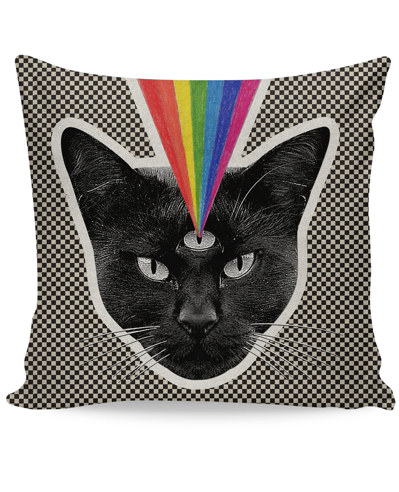 Checker Black Cat Couch Pillow