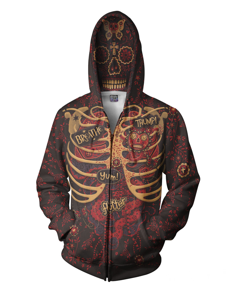 Day of the Dead Anatomy Zip-Up Hoodie