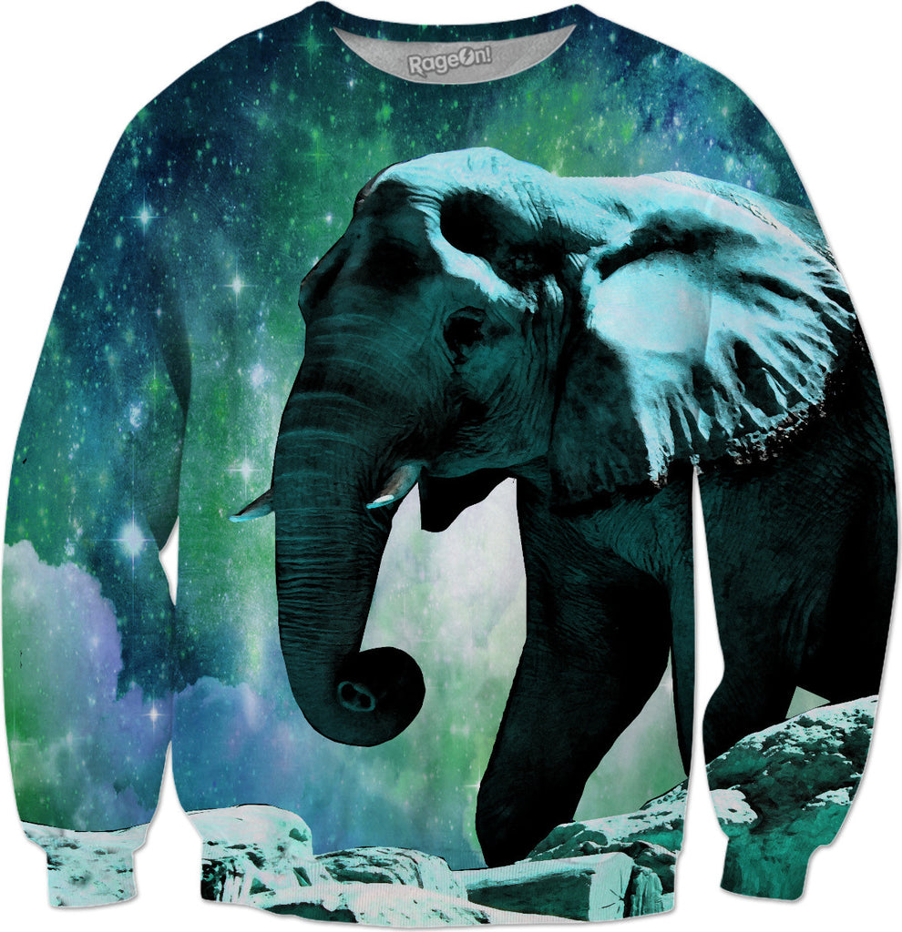 Galaxy Elephant of the Planet Pachyderm Sweatshirt - DistortionArt