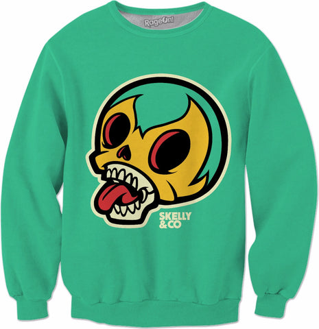Skelly Head Green Crewneck Sweatshirt