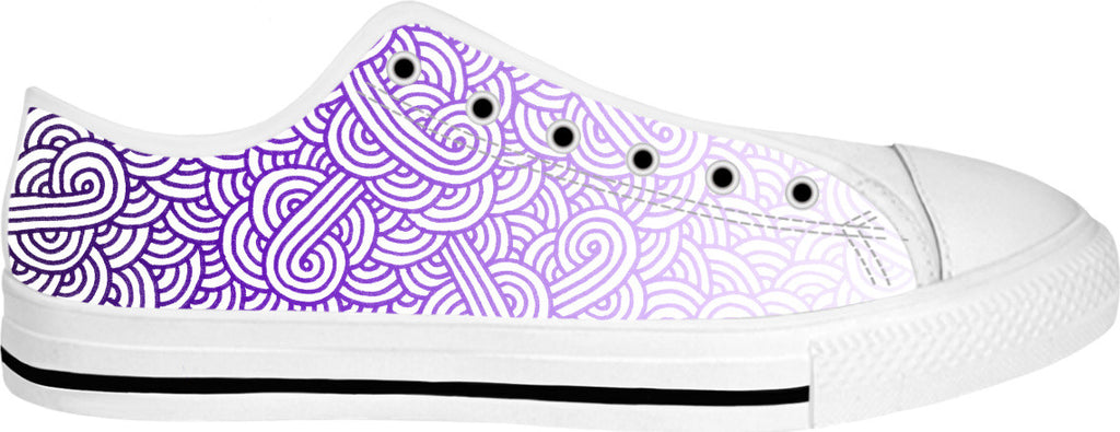 Gradient purple and white swirls doodles White Low Tops