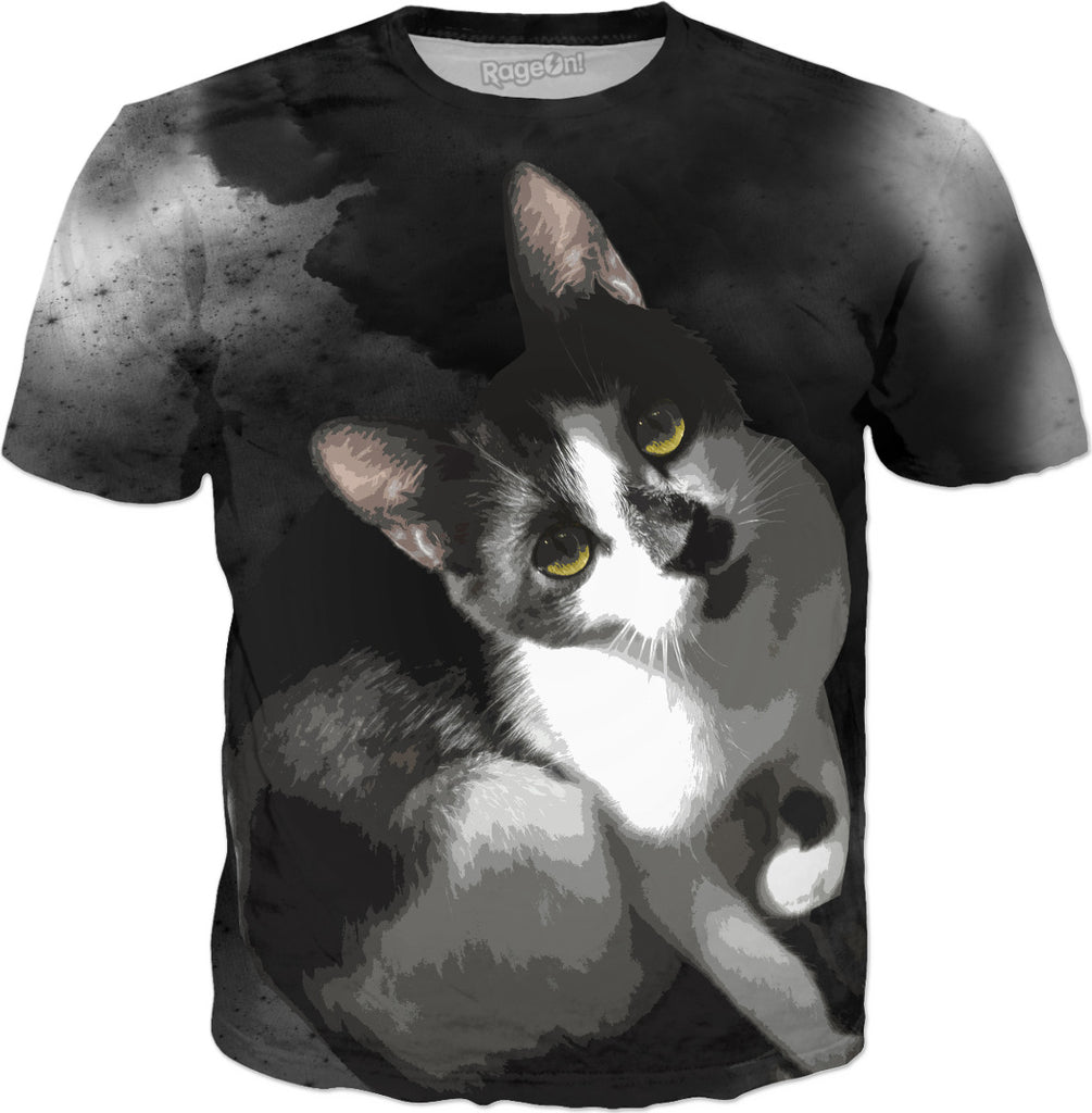 Gypsy Da Fleuky Cat and the Black Starry Night - Kitty T-Shirt - DistortionArt