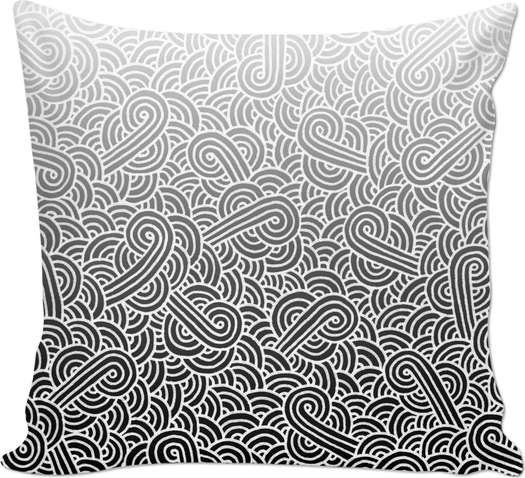 Ombre black and white swirls doodles Couch Pillow