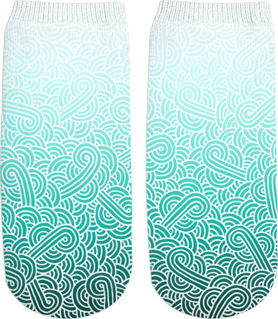 Ombre turquoise blue and white swirls doodles Ankle Socks