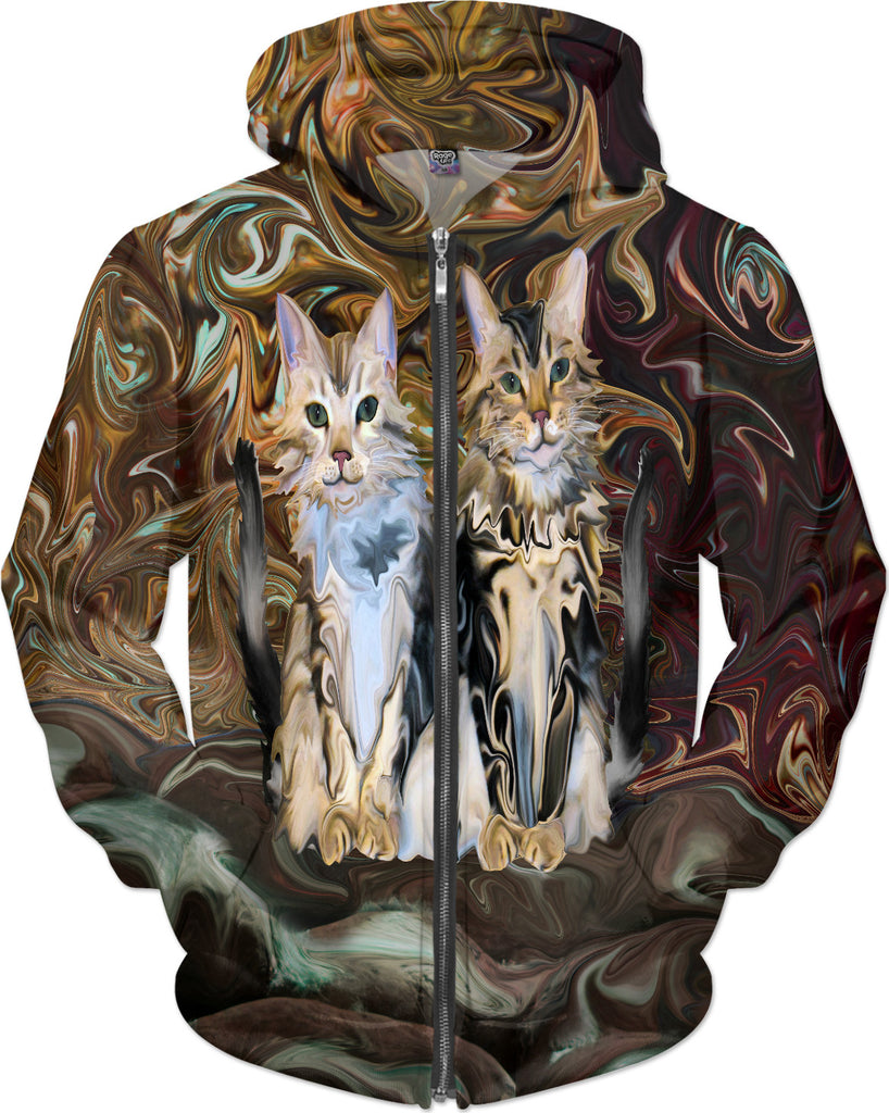 Marble Meows in the Autumn Woods -  Kitty Cat Hoodie - DistortionArt