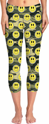 Smiley Green Camo Yoga Pants
