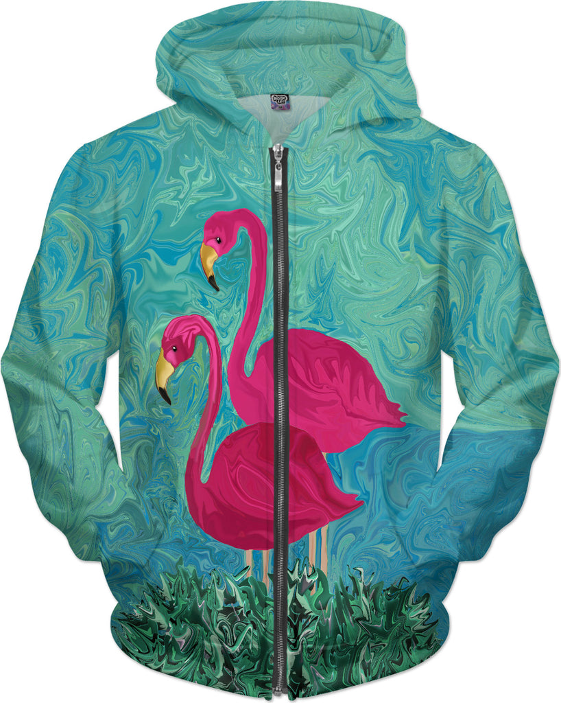 The Two Flamigos - Pink Flamingo Hoodie - DistortionArt