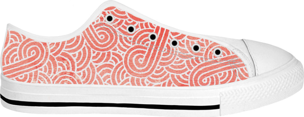 Peach echo and white swirls doodles White Low Tops