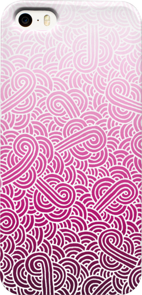 Ombre pink and white swirls doodles Phone Case