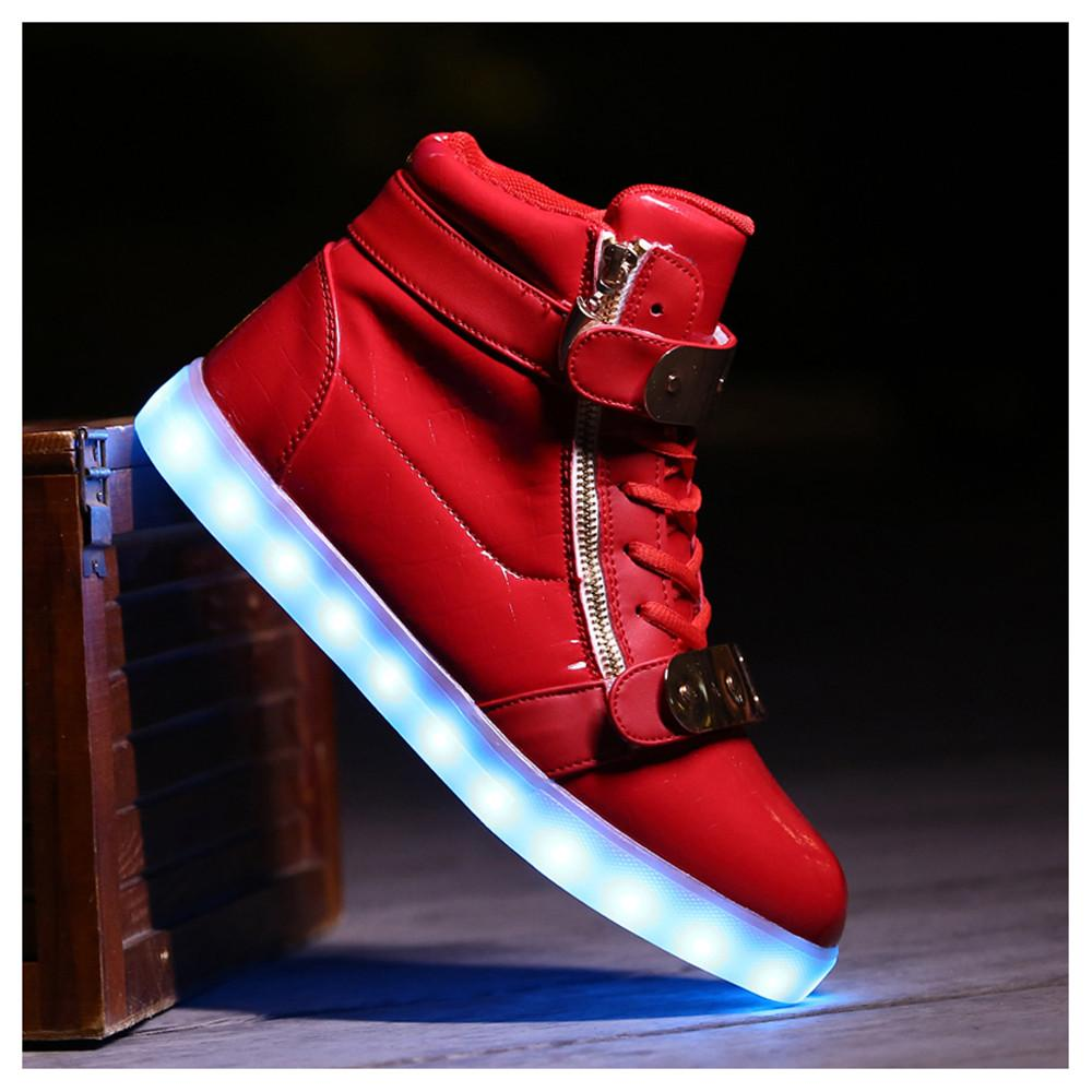 Red LED Shoes with Zipper