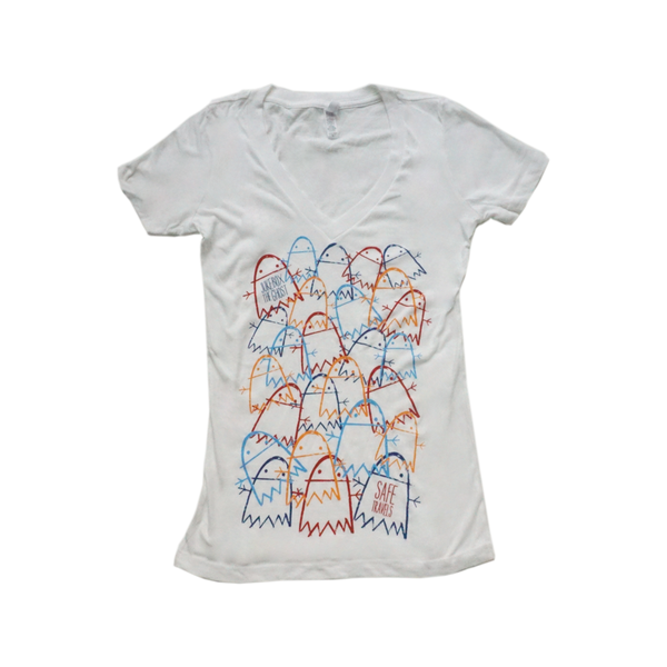 Safe Travels Multi Ghost Ladies V-neck