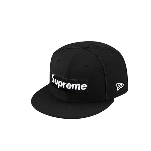 Box Logo Piping New Era Cap by SUPREME.  Color: Black  Size: 7 1/2