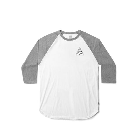 The HUF Raglan Triple triangle with grey 3/4 sleeves.