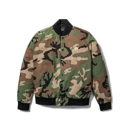 HUF Camo Kingston bomber jacket. 100% COTTON BOMBER JACKET // LARGE BACK EMBROIDERY. Color: Camo