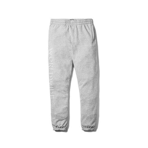HUF fleece sureshot sweatpants. 80/20 FRENCH TERRY FLEECE PANTS // SCREEN PRINTED LOGO. Color: Grey Heather