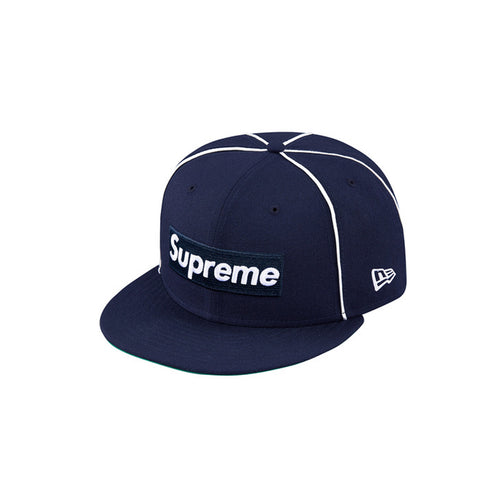 Box Logo Piping New Era Cap by SUPREME.  Color: Navy  Size: 7 1/4 & 7 3/8
