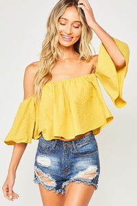 Solid Off Shoulder Top-MUSTARD