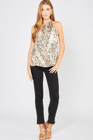 Retile High Neck Top-MOCHA