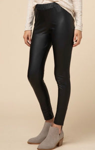 Faux Leather Leggings-BLACK