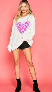 Heart Sweatshirt-PINK/WHITE